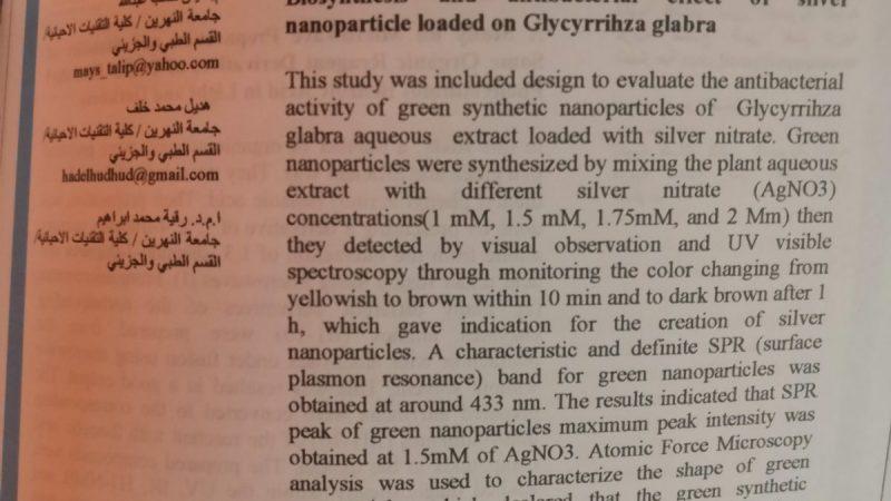 التركيب الحيوي والتأثير المضاد للبكتيريا للجسيمات النانوية الفضية المحملة على نبات عرق السوس